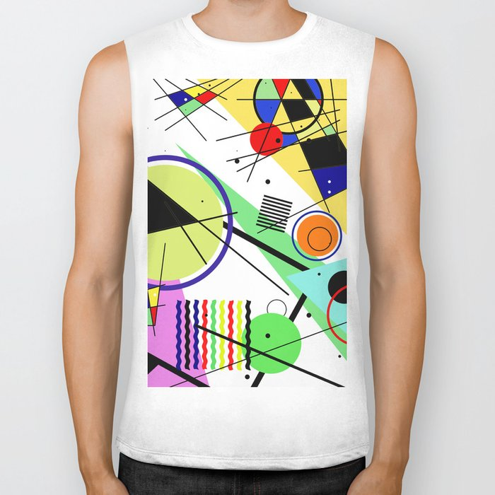 Retro Crazy - Abstract, random, crazy, geometric, colourful artwork Biker Tank