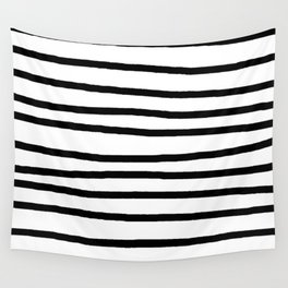 Simply Drawn Stripes in Midnight Black Wall Tapestry