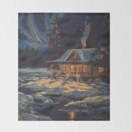 Blue Aurora Nights Throw Blanket
