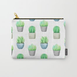 Succulent and Cactus Garden Pots Pattern Carry-All Pouch