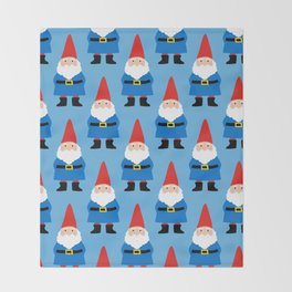 Gnome Repeat in Blue Throw Blanket