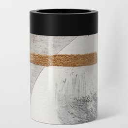 Armor [7]: a bold minimal abstract mixed media piece in gold, black and white Can Cooler