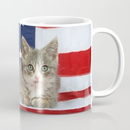 Patriotic Tabby Kitten Coffee Mug