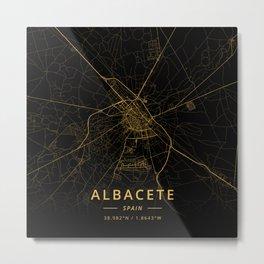 Albacete, Spain - Gold Metal Print