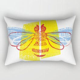 Be Safe - Save Bees linocut Rectangular Pillow