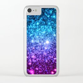 Glitter Galaxy Stars : Turquoise Blue Purple Hot Pink Ombre Clear iPhone Case