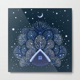 Tiny House - Snowy Night Metal Print