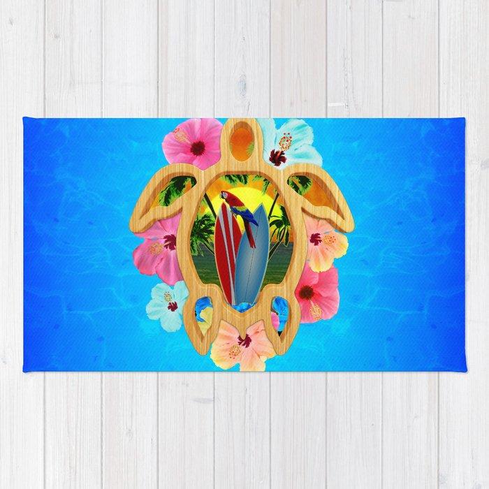 Hawaiian Surfboard Sunset Rug