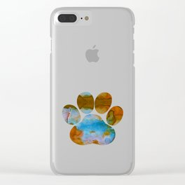 Dog Paw Print Clear iPhone Case