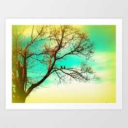 Two Crows on a Branch Art Print