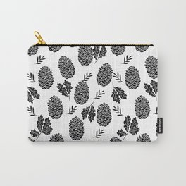 Linocut Pinecones fall autumn nature black and white minimalist botanical gifts Carry-All Pouch