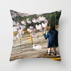 Swinging in the Sakura Throw Pillow
