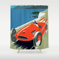 grand theft auto Shower Curtains featuring Retro style auto Grand Prix Rivièra by aapshop