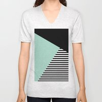 Mint Color Block with Stripes // www.penncilmeinstationery.com Unisex V-Neck