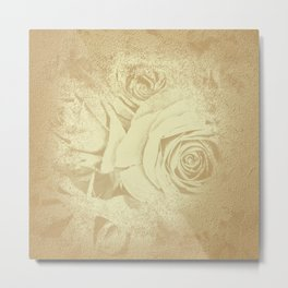 Roses in vintage style with texture Metal Print