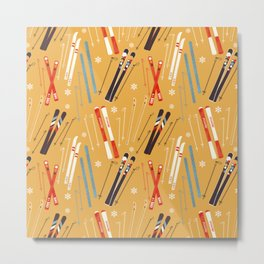 Bright Retro Skii Pattern Metal Print