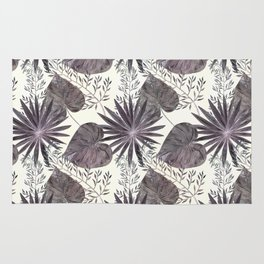 Gray tropical pattern on light beige background. Rug