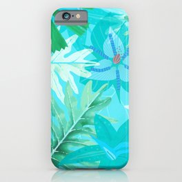 My blue abstract Aloha Tropical Flower Jungle Garden iPhone Case