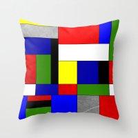 mondrian Throw Pillows featuring Mondrian #4 by Ron (Rockett) Trickett