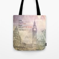 kerouac Tote Bags featuring Jack Kerouac 1 - Live, Travel, Adventure, Bless by sammilukanphotography