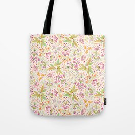Spring Flower Meadow, Sunny Vibes in Orange, Lime & Fuchsia Pink Floral Blooms Tote Bag