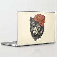 uk Laptop & iPad Skins featuring zissou the bear by Laura Graves