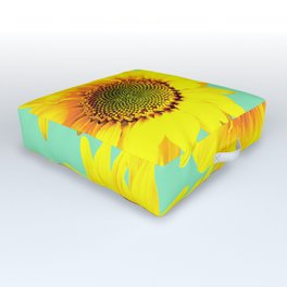 Sunflowers on a pastel green backgrond - #Society6 #buyart Outdoor Floor Cushion