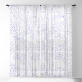 Monstera (White Glow) - Lavender Sheer Curtain