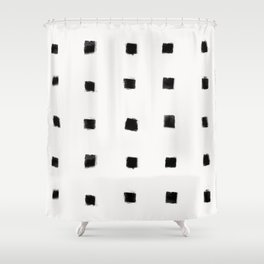Polka Strokes Gapped - Black on Off White Shower Curtain