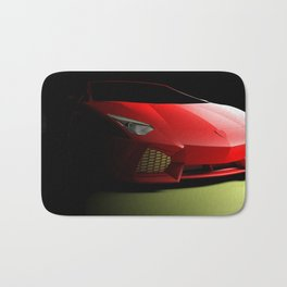 Red sport supercar isolated on black background - 3D rendering illustration Bath Mat