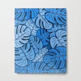 Monstera Leaves Blue Metal Print