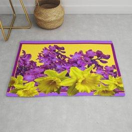 Sunny Yellow Daffodile Lilac  Purple Floral Art Rug