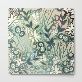 Detailed square of green and ocre floral tangle Metal Print