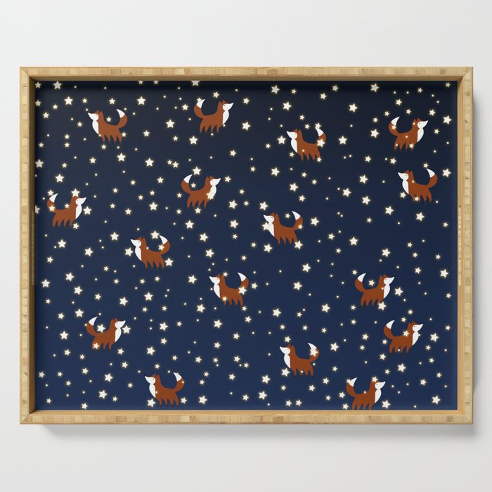 Foxes and stars pattern Serving Tray