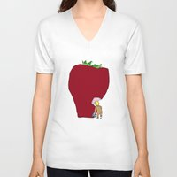 strawberry V-neck T-shirts featuring strawberry by Madmi
