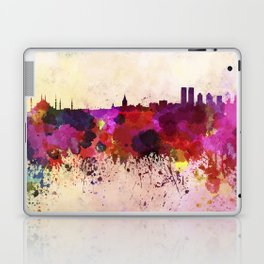 Istanbul skyline in watercolor background Laptop & iPad Skin