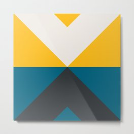 Split X Teal & Yellow Metal Print