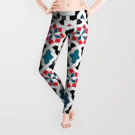 Oriental Pattern - Geometric Design, red / blue / grey Leggings
