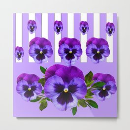 MODERN LILAC & PURPLE PANSY FLOWERS ART Metal Print