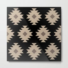 Southwestern Pattern 521 Black and Beige Metal Print