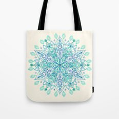 Peppermint Snowflake on Cream Tote Bag