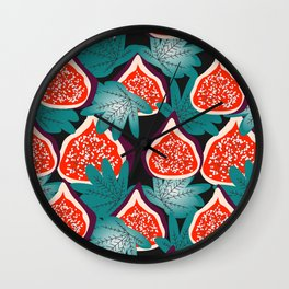 Colorful figs and leaves Wall Clock