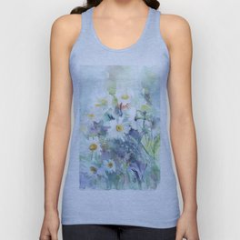 watercolor drawing - white daisies, beautiful bouquet, painting Unisex Tank Top
