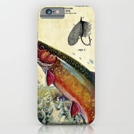 Vintage Trout Fly Fishing Lure Patent Game Fish Identification Chart iPhone Case