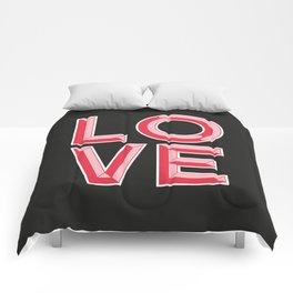 LOVE - Beveled Typography Comforters
