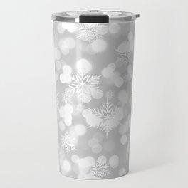 Christmas Snowflakes Bokeh Silver Pattern Travel Mug
