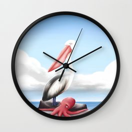 Pelican and Octopus Wall Clock
