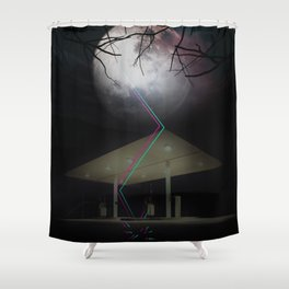 Moon Struck at gas station Shower Curtain