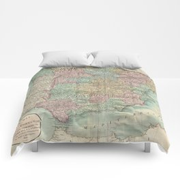 Vintage Map of Spain and Portugal (1801) Comforters