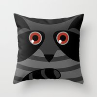 racoon Throw Pillows featuring racoon - raccoon  by ArigigiPixel